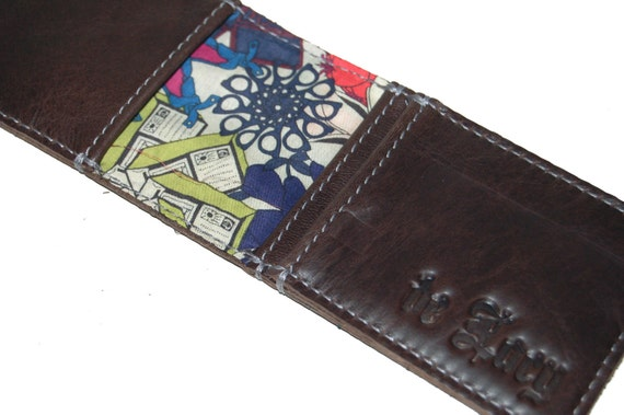 Brown leather bi fold card wallet, handmade, Liberty of London lined