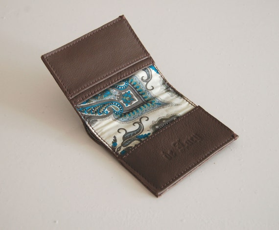 Brown leather wallet, lined Liberty of London cotton, handmade.