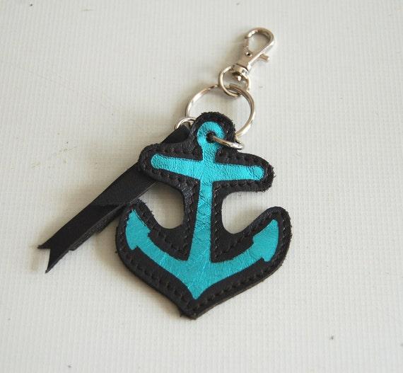 black leather anchor keychain, charm, handmade...