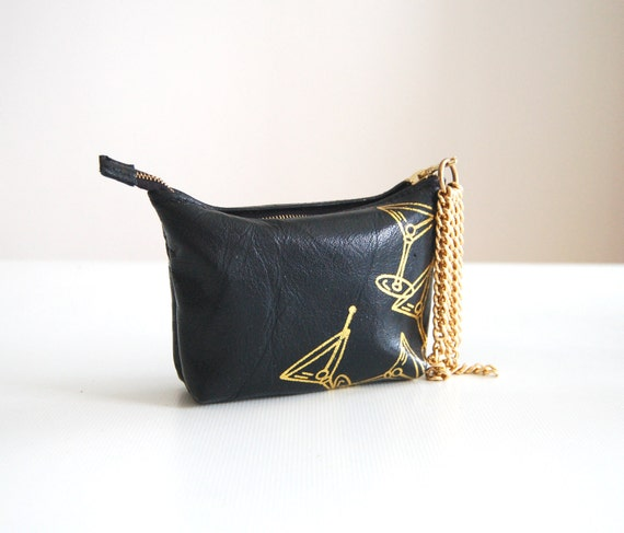 Black leather purse with gold cocktails, handmade