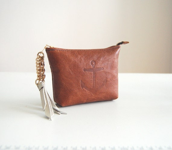 Nautical distressed brown leather purse, handmade, Liberty of London lined