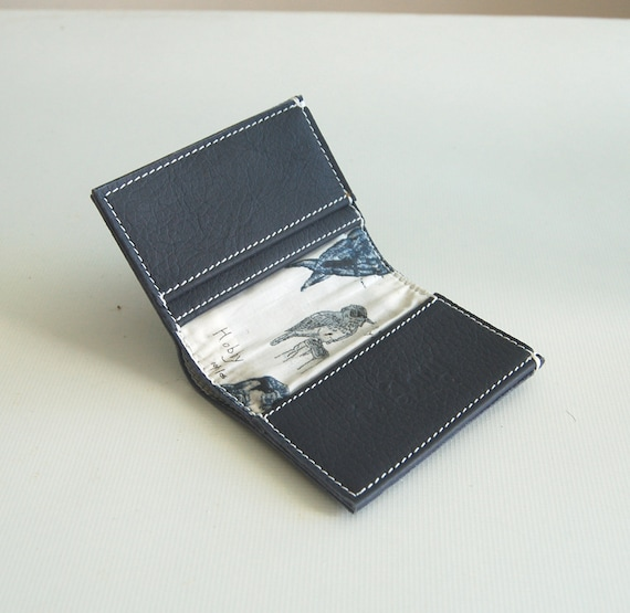 Luxury grey leather wallet, lined Liberty of London birds cotton, handmade.