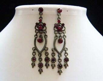 Vintage Earrings, Siam Rhinestone