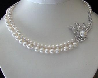 Bridal Necklace White Swarovski Crystal Pearl (H010)