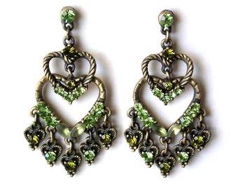 Vintage Chandelier Earrings Green Rhinestone Antique Gold Tone (E2035B)