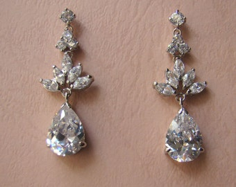 Cubic Zirconia Chandelier Earrings, Rhodium Plated, Bridal Wedding, Bride, Bridesmaid (E4026)