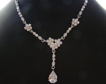 Bridal Necklace, Cubic Zirconia CZ Necklace,  Bridesmaids Necklace, FREE Stud Earrings (31H91)