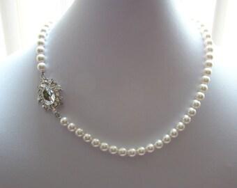 Bridal Necklace, Wedding Pearl Necklace, Swarovski Pearl Necklace, Bridesmaids Necklace, Perfect Gift  (31H90)