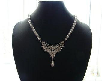 Bridal Necklace, Vintage Wing Necklace, White Swarovski Pearl, Wedding Necklace (31H125)
