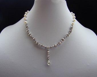 Bridal Necklace Swarovski Crystal Pearl Rhinestone, Rhinestone Earrings --  Bride, Bridesmaid #N473D