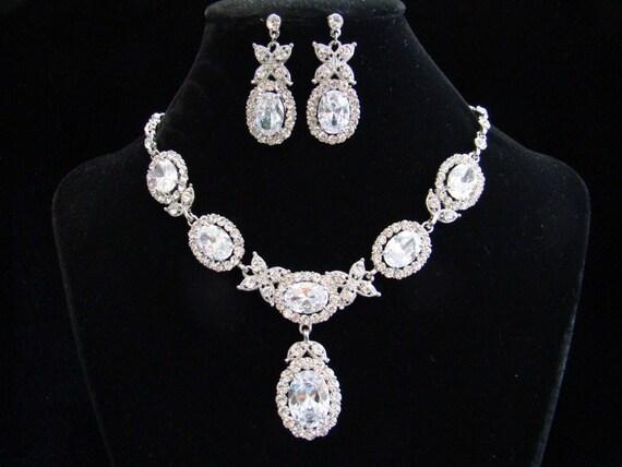 Bridal Necklace Earrings Set Cubic Zirconiz CZ and  Rhinestone #N3024