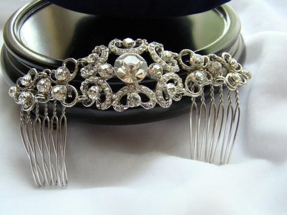 Bridal Hair Comb, Vintage Hair Piece, Rhinestone Hair Comb, Wedding Hair Accessory, MILANDA