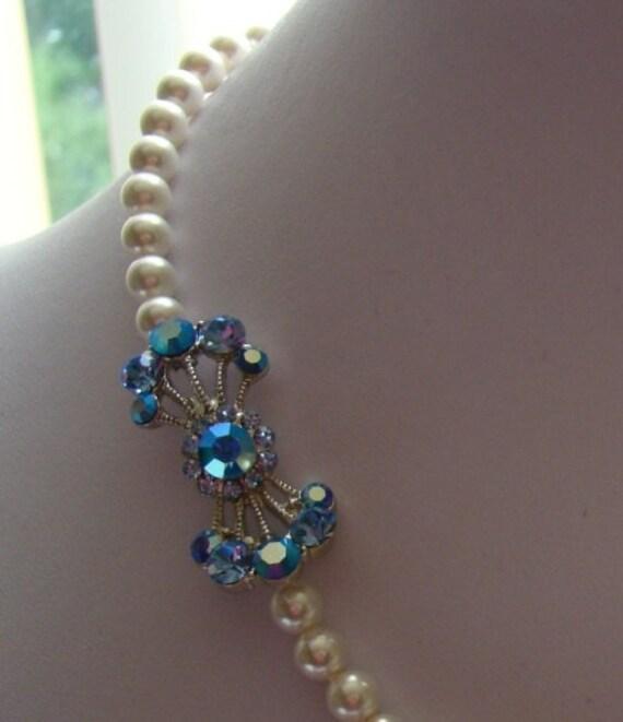 Bridal Swarovski Pearl Rhinestone Necklace, Light Sapphire Rhinestone (31H106)