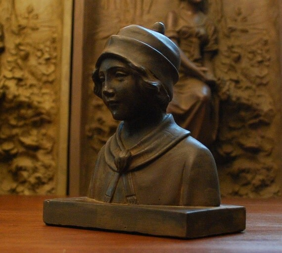 ARTS and CRAFTS style Cast Stone Bust Sculpture AMELIA