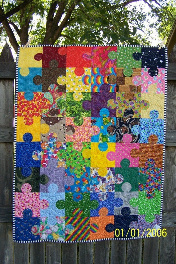 Puzzle Pieces Autism Awareness Quilt Made To Order