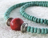 Turquoise Necklace . Red Sponge Coral . Blue Green . Southwestern Style