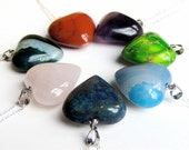 Gemstone Heart Pendant with Sterling Silver Chain