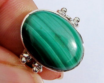 Green Malachite Sterling Silver Ring.  US Size 6.5