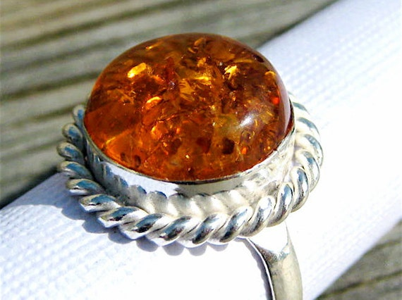 RESERVED for Chu . Golden Cognac Amber Silver Ring . US Size 7.75
