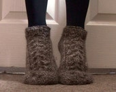Luxury Alpaca Short Socks Slippers With Cables