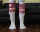 MADE TO ORDER Long Above the Knee Socks White Red Wool Christmas Fairisle Norwegian Scandinavian Nordic
