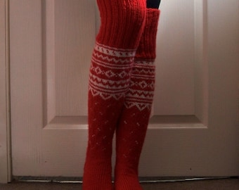 Hand Knit Above the knee Red Long Winter Socks