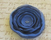 Pleasing Periwinkle and Navy Blue Flower / Choose from Pin-back, Alligator Clip, or French Style Barrette