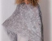 Felted shawl. Gorgeous, light and warm handmade scarf for women. From silk chiffon and merino wool