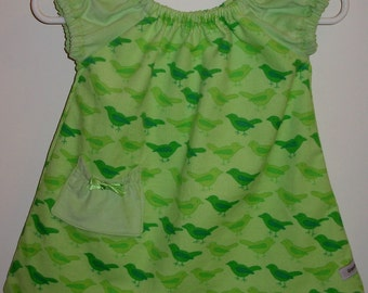 Corduroy Baby Dress Peasant Style  with Pocket (Birds in Green)-Size 3-6 mos.