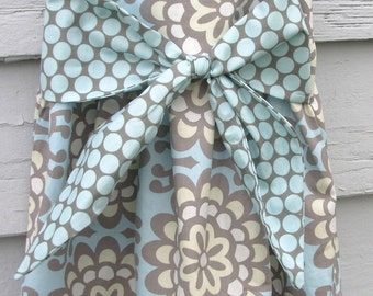 Boutique Big Bow Baby Dress(Amy Butler Lotus Flowerblue/gray) Size 12-18 months