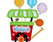 Boutique machine applique design BALLOON CART carnival circus birthday