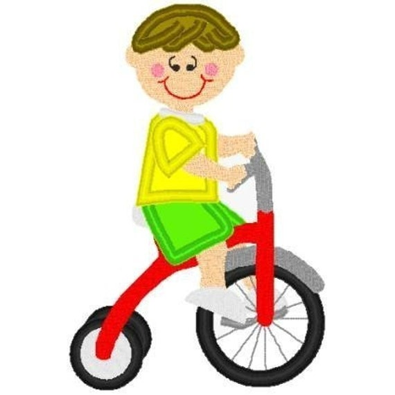 Boutique Machine Applique Embroidery design (TRICYCLE BOY/SUMMER)