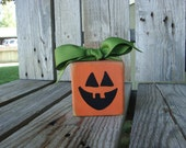 Halloween pumpkin primitive wood block fall autumn jack o lantern wood block home decor pumpkin vinyl