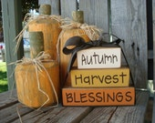 Autumn, Harvest, Blessing Fall Wood Block Set Thanksgiving Gift Home Season Decor Sign Personalized Primitive