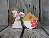 Easter decor CHICK AND BUNNY spring blocks holiday seasonal home decor easter egg bunny gift primitive