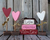 Valentine Heart Flowers Set of 3 primitive wood block valentine heart seasonal personalized home gift decor