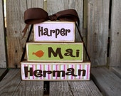 Personalized Wood Block Stacker set Personalized Name baby girl boy birth announcement Wood Stacker block set nursery kids gift