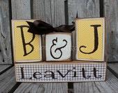 Personalized  Name Family Block Set sign wood block set christmas wedding anniverysary birthday gift