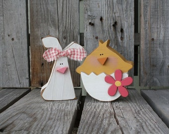 Easter decor CHICK AND BUNNY spring blocks holiday seasonal home decor egg bunny gift primitive