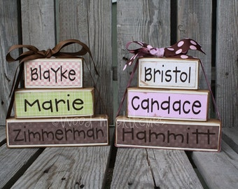 Personalized Wood Block Set/ Name Stackers . . . check out the pictures for different styles/ideas . . . great gift and decor