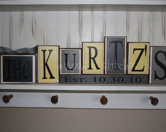 Personalized Name Wood Block Set . . . custom wedding home decor primitive gift personalized wood sign boy girl baby family