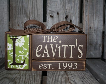 Personalized Established Name Family Block Set sign wood block set christmas wedding anniverysary birthday gift