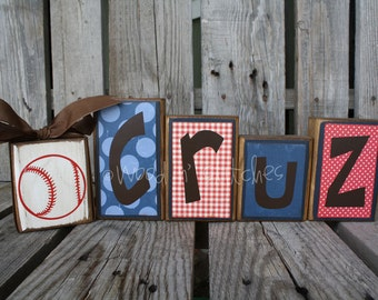 Personalized Wood Block Set (5 piece set). . . nursery wedding home decor primitive gift name personalized wood sign boy girl baby family