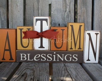 Autumn Blessings fall thanksgiving Large Wood Block Set home seasonal decor pumpkin family table centerpiece