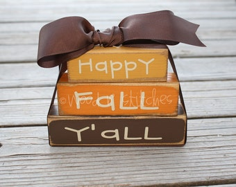 Fall Autumn Primitive Personalized Wood Mini Stacker Block Set gift home seasonal decor gift