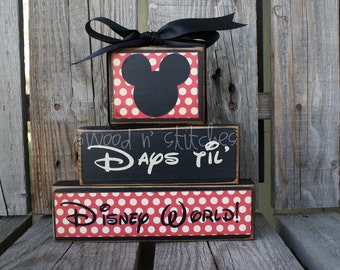 Personalized  COUNTDOWNS chalkboard wood block set. . . Christmas, vacation, birthday, Halloween, Disneyland, grandma primitive