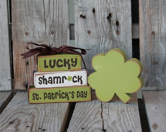 St. Patrick's Day Block Mini Stacker and small SHAMROCK home seasonal spring irish gift decor march
