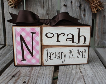 Baby boy girl birth personalized family primitive name blocks wood custom nursery gift shower wedding  . . . great gift or for yourself