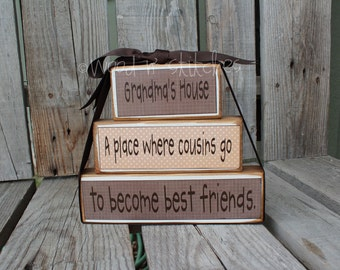 Mom Grandma  personalized stacker gift wood block set birthday Mothers Day family primitive