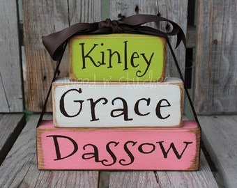 Personalized Name Wood Stacker block set wedding family nursery baby kids room birthday gift home decor primitive personalized block set